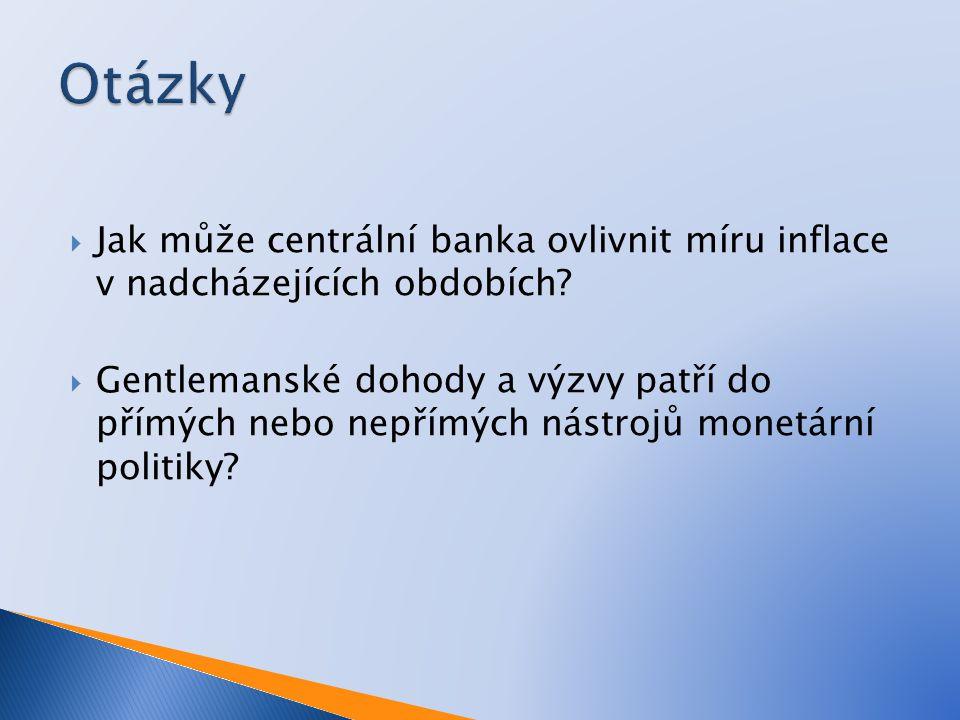  Jak může centrální banka ovlivnit míru inflace v nadcházejících obdobích.