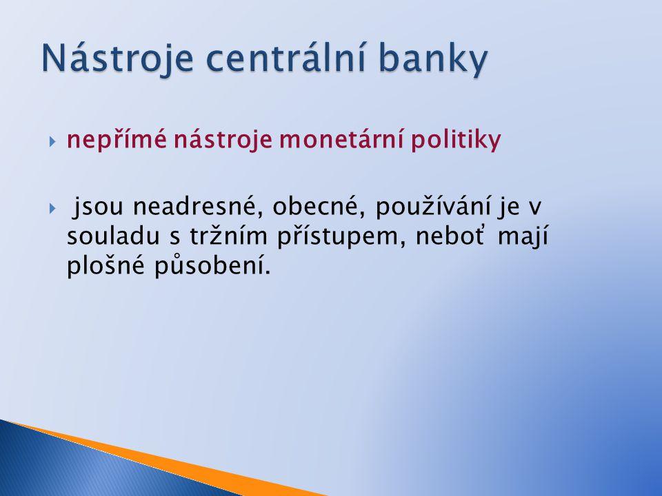  nepřímé nástroje monetární politiky  jsou neadresné, obecné, používání je v souladu s tržním přístupem, neboť mají plošné působení.