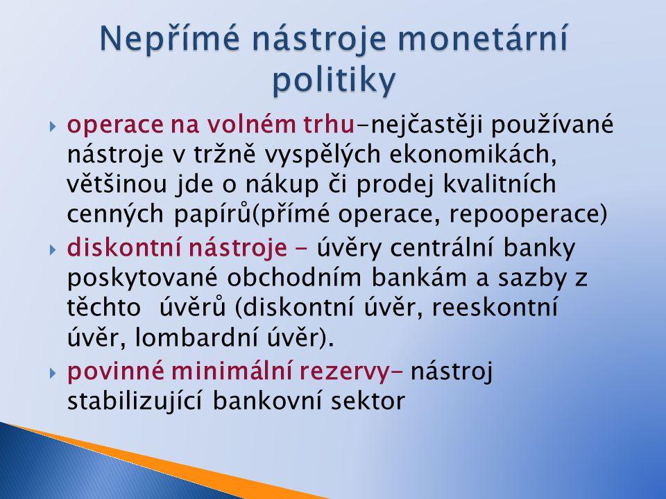  operace na volném trhu-nejčastěji používané nástroje v tržně vyspělých ekonomikách, většinou jde o nákup či prodej kvalitních cenných papírů(přímé operace, repooperace)  diskontní nástroje - úvěry centrální banky poskytované obchodním bankám a sazby z těchto úvěrů (diskontní úvěr, reeskontní úvěr, lombardní úvěr).