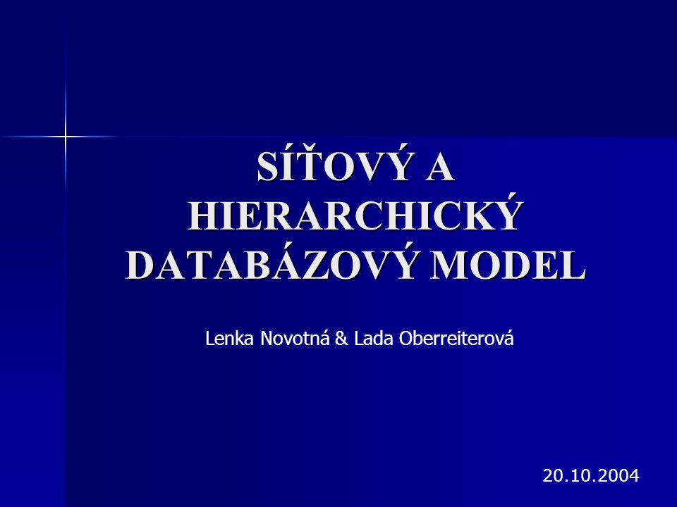 SÍŤOVÝ A HIERARCHICKÝ DATABÁZOVÝ MODEL Lenka Novotná & Lada Oberreiterová 20.10.2004