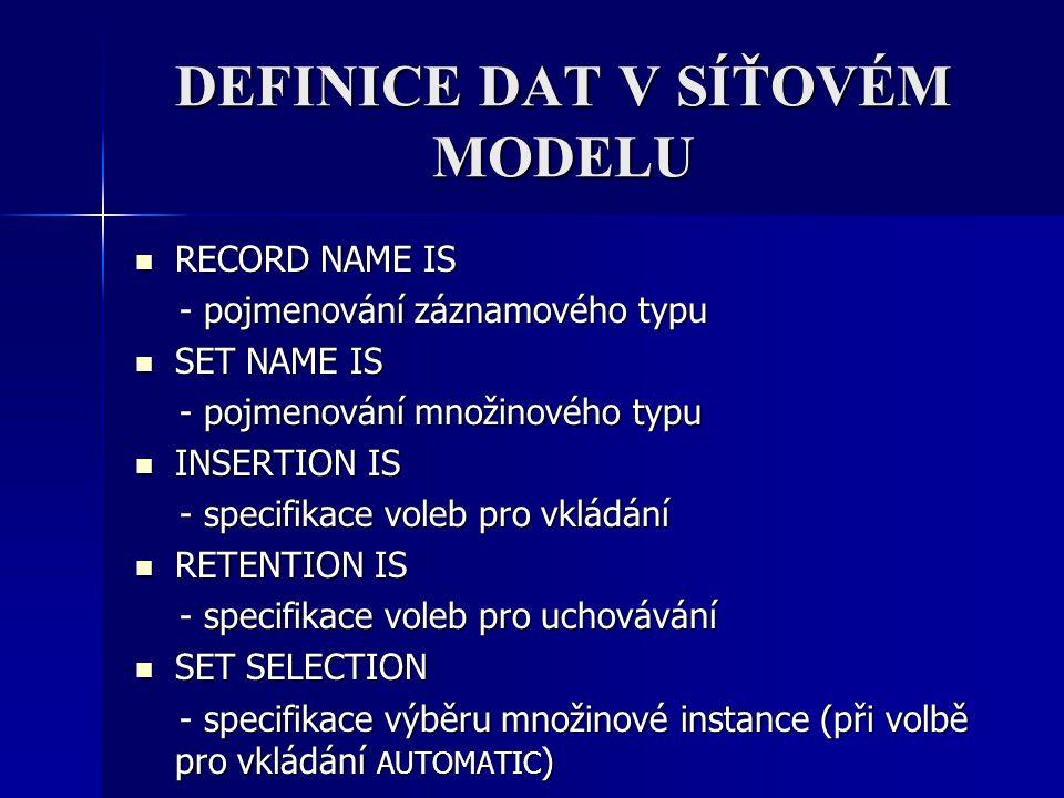 DEFINICE DAT V SÍŤOVÉM MODELU RECORD NAME IS RECORD NAME IS - pojmenování záznamového typu - pojmenování záznamového typu SET NAME IS SET NAME IS - po