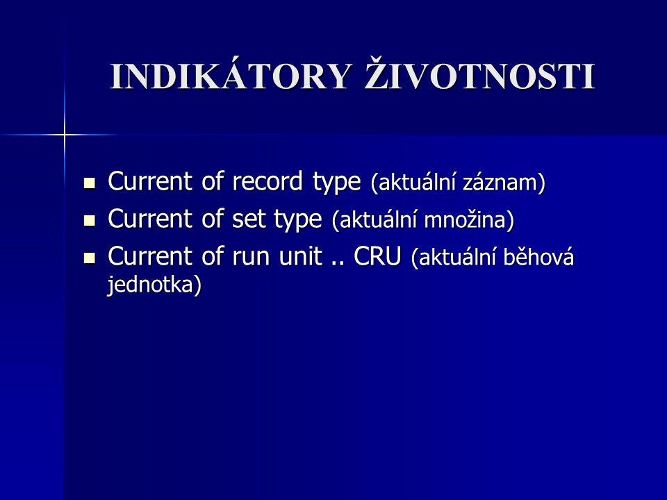 INDIKÁTORY ŽIVOTNOSTI Current of record type (aktuální záznam) Current of record type (aktuální záznam) Current of set type (aktuální množina) Current