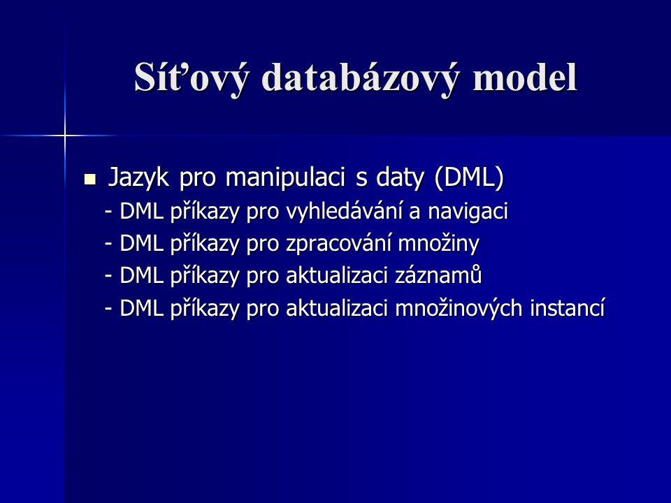 Síťový databázový model Jazyk pro manipulaci s daty (DML) Jazyk pro manipulaci s daty (DML) - DML příkazy pro vyhledávání a navigaci - DML příkazy pro