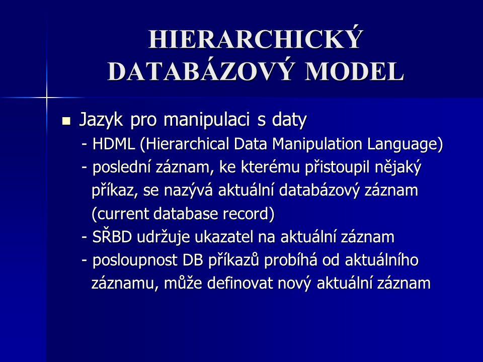 HIERARCHICKÝ DATABÁZOVÝ MODEL Jazyk pro manipulaci s daty Jazyk pro manipulaci s daty - HDML (Hierarchical Data Manipulation Language) - HDML (Hierarc