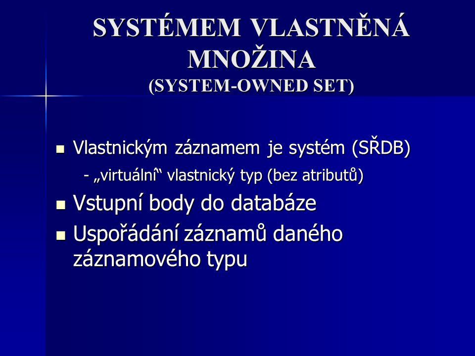 """SYSTÉMEM VLASTNĚNÁ MNOŽINA (SYSTEM-OWNED SET) Vlastnickým záznamem je systém (SŘDB) Vlastnickým záznamem je systém (SŘDB) - """"virtuální"""" vlastnický typ"""
