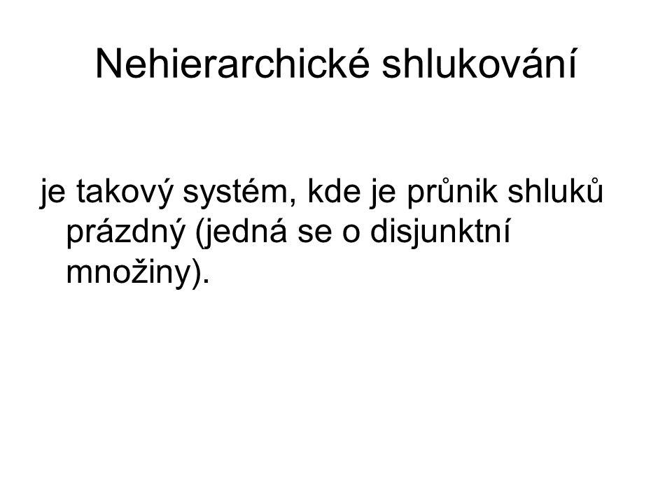 Nehierarchické shlukování je takový systém, kde je průnik shluků prázdný (jedná se o disjunktní množiny).