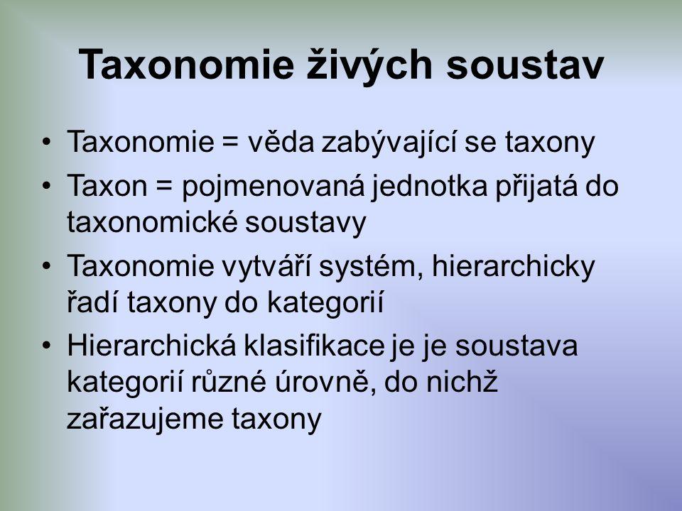 Taxonomie živých soustav Taxonomie = věda zabývající se taxony Taxon = pojmenovaná jednotka přijatá do taxonomické soustavy Taxonomie vytváří systém, hierarchicky řadí taxony do kategorií Hierarchická klasifikace je je soustava kategorií různé úrovně, do nichž zařazujeme taxony