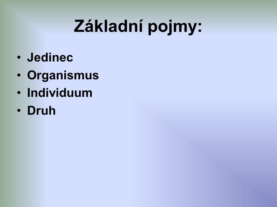 Základní pojmy: Jedinec Organismus Individuum Druh