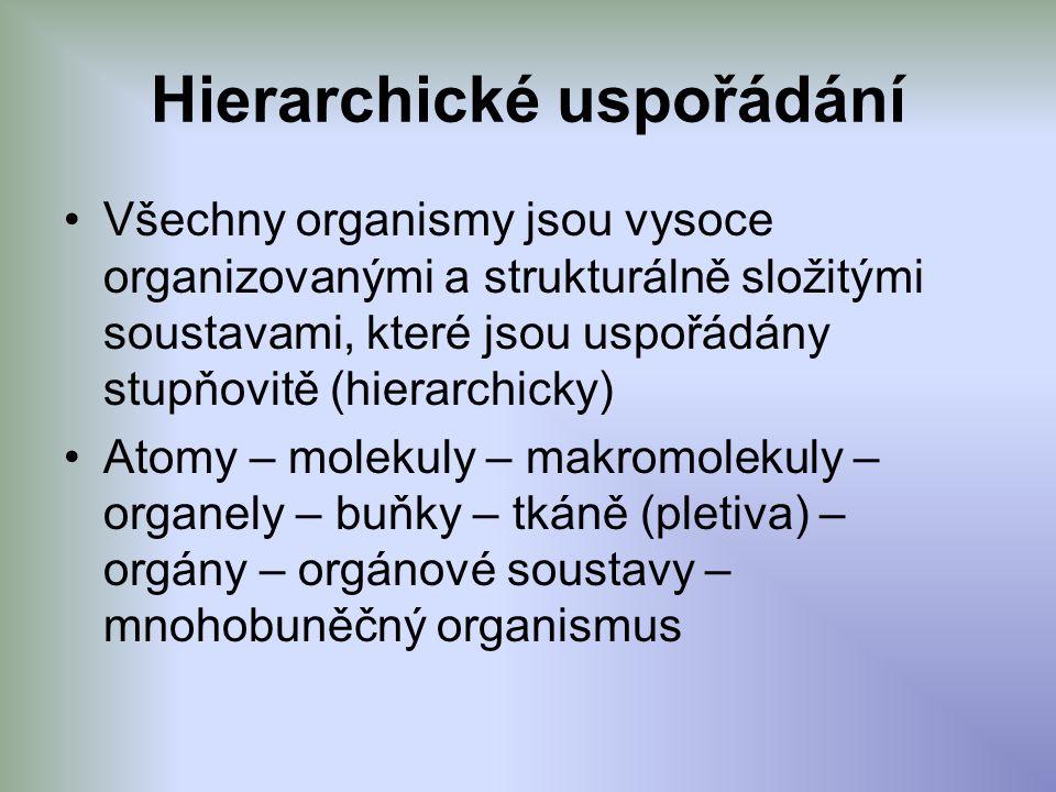 Hierarchické uspořádání Všechny organismy jsou vysoce organizovanými a strukturálně složitými soustavami, které jsou uspořádány stupňovitě (hierarchicky) Atomy – molekuly – makromolekuly – organely – buňky – tkáně (pletiva) – orgány – orgánové soustavy – mnohobuněčný organismus