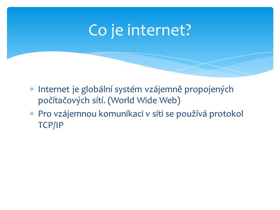  Internet je globální systém vzájemně propojených počítačových sítí.