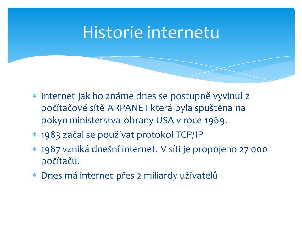  Internet jak ho známe dnes se postupně vyvinul z počítačové sítě ARPANET která byla spuštěna na pokyn ministerstva obrany USA v roce 1969.