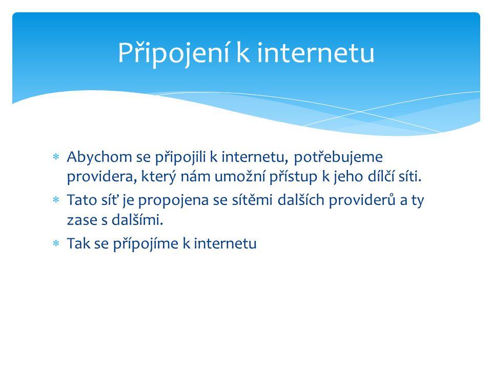  Abychom se připojili k internetu, potřebujeme providera, který nám umožní přístup k jeho dílčí síti.