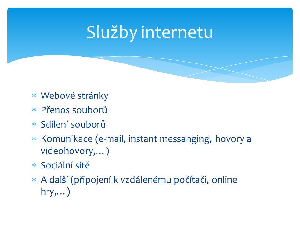  Webové stránky  Přenos souborů  Sdílení souborů  Komunikace (e-mail, instant messanging, hovory a videohovory,…)  Sociální sítě  A další (připojení k vzdálenému počítači, online hry,…) Služby internetu