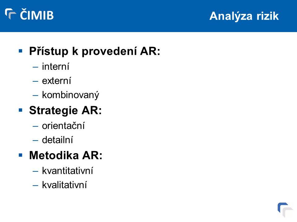 Analýza rizik  Přístup k provedení AR: –interní –externí –kombinovaný  Strategie AR: –orientační –detailní  Metodika AR: –kvantitativní –kvalitativní