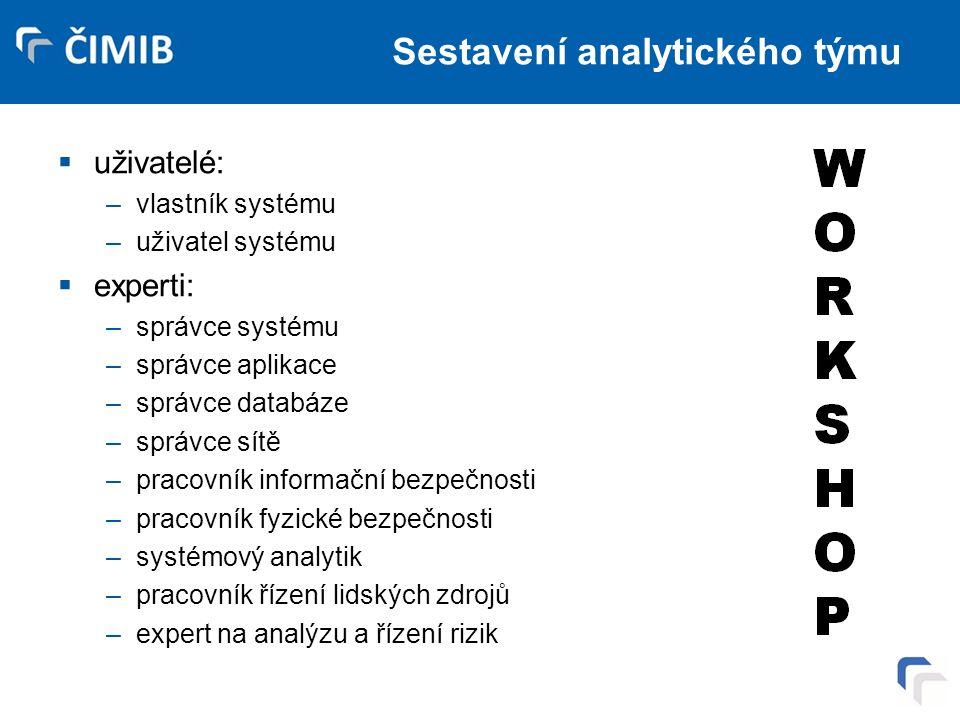 Sestavení analytického týmu  uživatelé: –vlastník systému –uživatel systému  experti: –správce systému –správce aplikace –správce databáze –správce