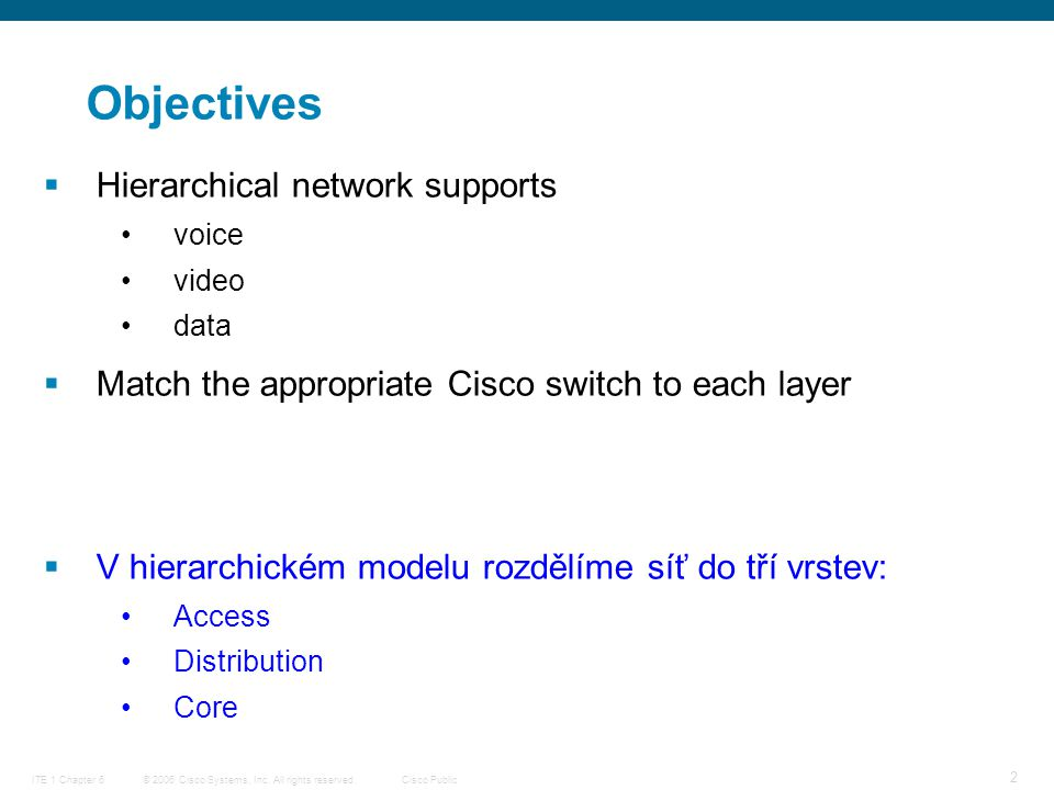 © 2006 Cisco Systems, Inc. All rights reserved.Cisco PublicITE 1 Chapter 6 2 Objectives  Hierarchical network supports voice video data  Match the a