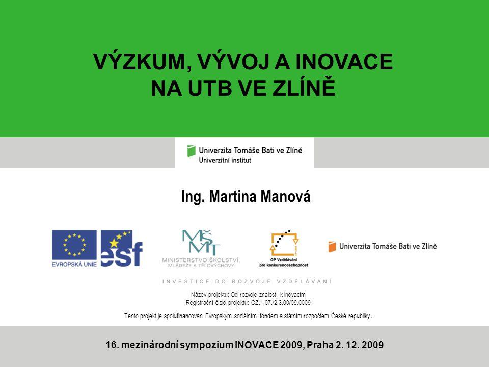 Ing.Martina Manová 16. mezinárodní sympozium INOVACE 2009, Praha 2.