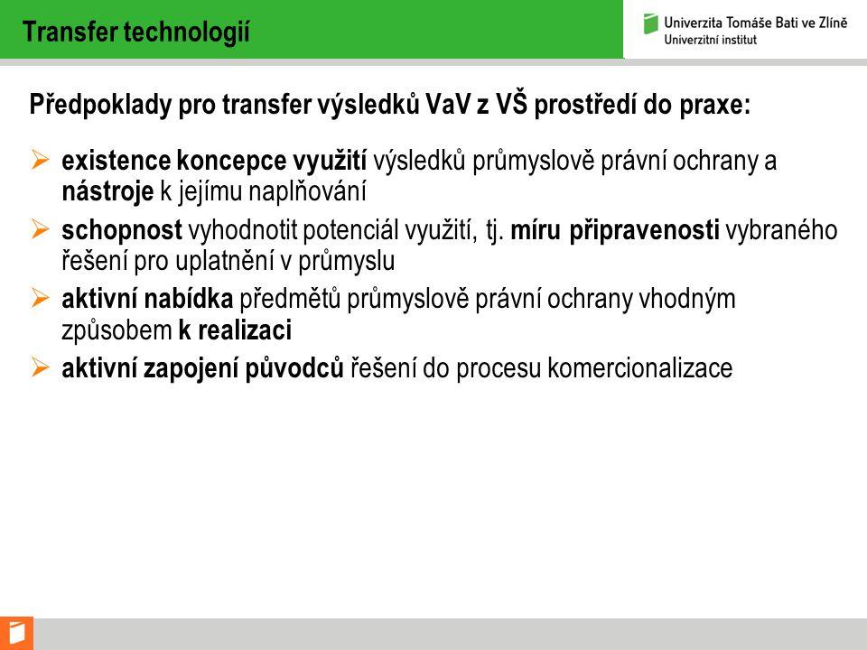 Transfer technologií Předpoklady pro transfer výsledků VaV z VŠ prostředí do praxe:  existence koncepce využití výsledků průmyslově právní ochrany a nástroje k jejímu naplňování  schopnost vyhodnotit potenciál využití, tj.