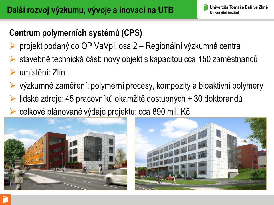Další rozvoj výzkumu, vývoje a inovací na UTB Centrum polymerních systémů (CPS)  projekt podaný do OP VaVpI, osa 2 – Regionální výzkumná centra  stavebně technická část: nový objekt s kapacitou cca 150 zaměstnanců  umístění: Zlín  výzkumné zaměření: polymerní procesy, kompozity a bioaktivní polymery  lidské zdroje: 45 pracovníků okamžitě dostupných + 30 doktorandů  celkové plánované výdaje projektu: cca 890 mil.