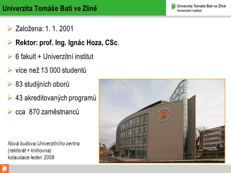 Univerzita Tomáše Bati ve Zlíně  Založena: 1.1. 2001  Rektor: prof.