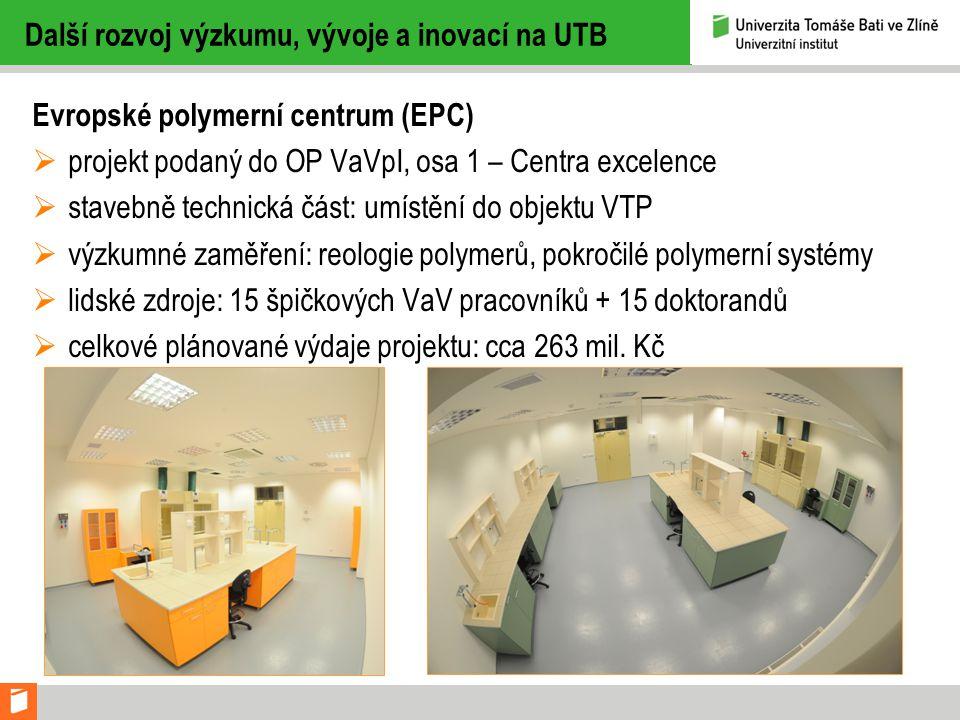 Další rozvoj výzkumu, vývoje a inovací na UTB Evropské polymerní centrum (EPC)  projekt podaný do OP VaVpI, osa 1 – Centra excelence  stavebně technická část: umístění do objektu VTP  výzkumné zaměření: reologie polymerů, pokročilé polymerní systémy  lidské zdroje: 15 špičkových VaV pracovníků + 15 doktorandů  celkové plánované výdaje projektu: cca 263 mil.