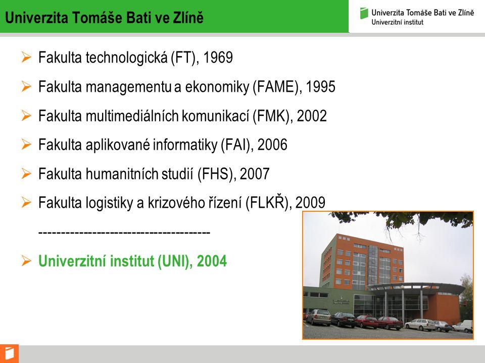 Univerzita Tomáše Bati ve Zlíně  Fakulta technologická (FT), 1969  Fakulta managementu a ekonomiky (FAME), 1995  Fakulta multimediálních komunikací (FMK), 2002  Fakulta aplikované informatiky (FAI), 2006  Fakulta humanitních studií (FHS), 2007  Fakulta logistiky a krizového řízení (FLKŘ), 2009 ---------------------------------------  Univerzitní institut (UNI), 2004