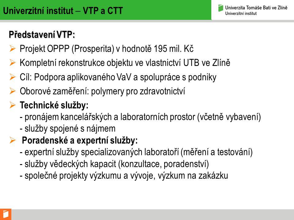 Univerzitní institut  VTP a CTT Představení VTP:  Projekt OPPP (Prosperita) v hodnotě 195 mil.
