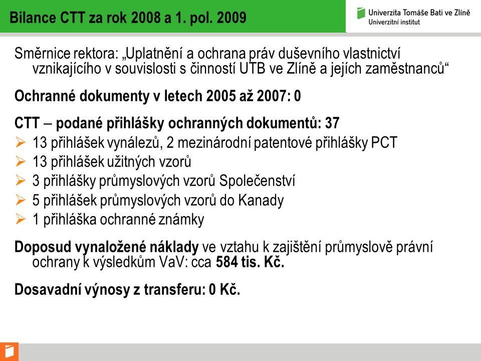 Bilance CTT za rok 2008 a 1.pol.