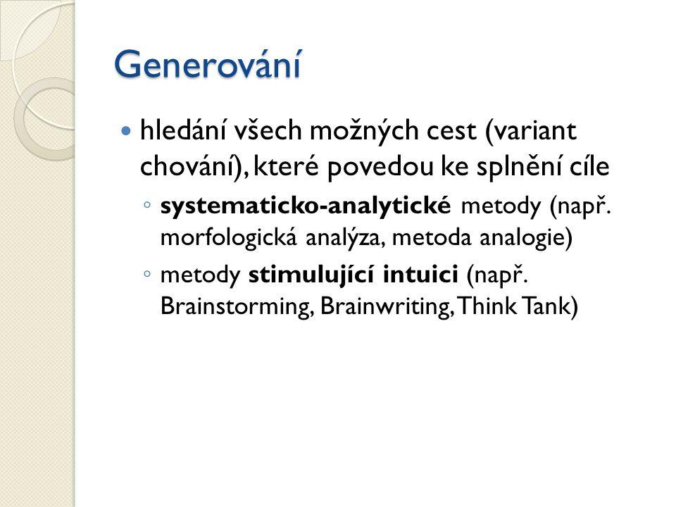 Generování hledání všech možných cest (variant chování), které povedou ke splnění cíle ◦ systematicko-analytické metody (např. morfologická analýza, m