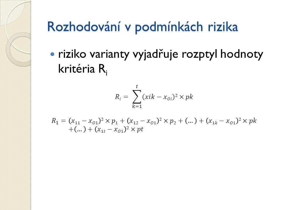 Rozhodování v podmínkách rizika riziko varianty vyjadřuje rozptyl hodnoty kritéria R i