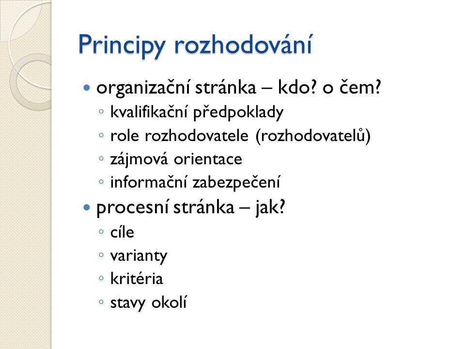 Principy rozhodování organizační stránka – kdo? o čem? ◦ kvalifikační předpoklady ◦ role rozhodovatele (rozhodovatelů) ◦ zájmová orientace ◦ informačn