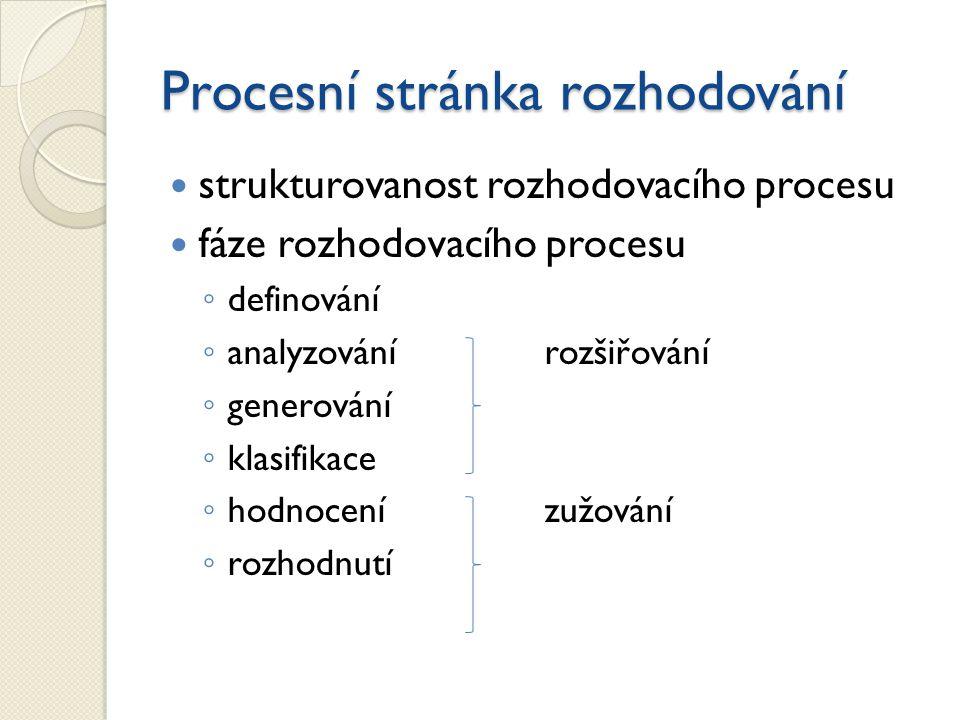 Procesní stránka rozhodování strukturovanost rozhodovacího procesu fáze rozhodovacího procesu ◦ definování ◦ analyzovánírozšiřování ◦ generování ◦ kla
