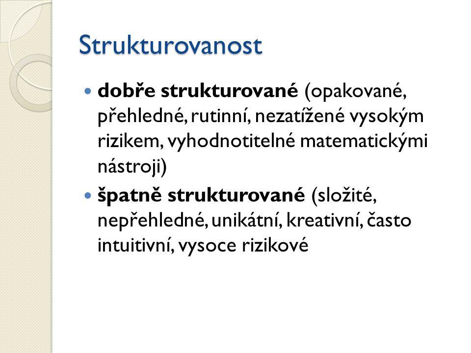 Strukturovanost dobře strukturované (opakované, přehledné, rutinní, nezatížené vysokým rizikem, vyhodnotitelné matematickými nástroji) špatně struktur