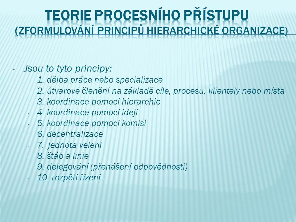- Jsou to tyto principy: - 1. dělba práce nebo specializace - 2.