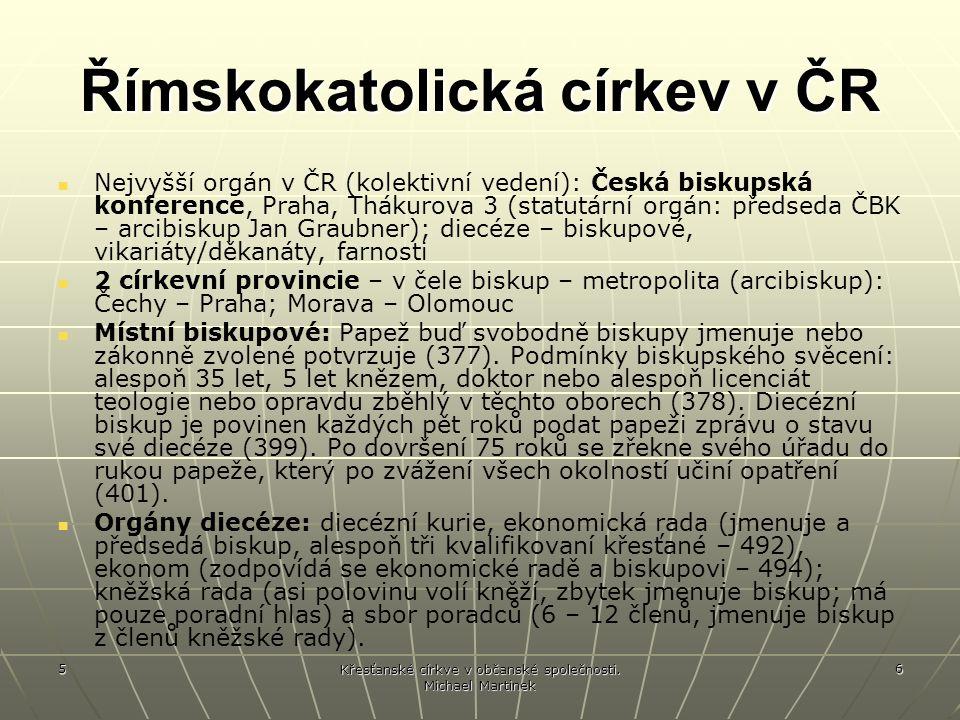 5 Křesťanské církve v občanské společnosti.