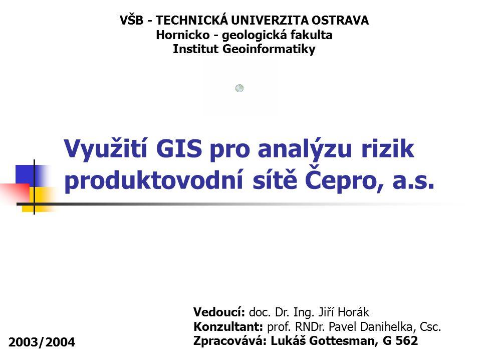 2003/2004 Lukáš Gottesman, G 562 Vyhodnocení výsledků podařilo se vytvořit metodické postupy pro analýzy zranitelnosti území vůči havárii na produktovodu s využitím nástrojů GIS výhodou využití GIS je jednoduché statistické vyhodnocení analýzy