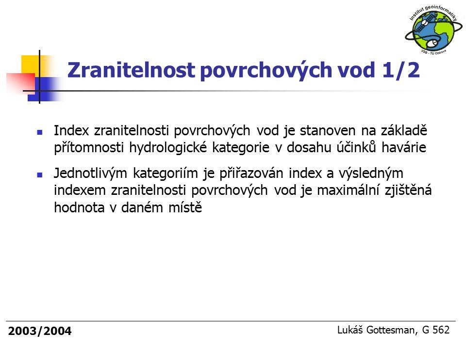 2003/2004 Lukáš Gottesman, G 562 Index zranitelnosti povrchových vod je stanoven na základě přítomnosti hydrologické kategorie v dosahu účinků havárie