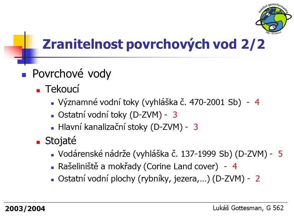 2003/2004 Lukáš Gottesman, G 562 Povrchové vody Tekoucí Významné vodní toky (vyhláška č. 470-2001 Sb) - 4 Ostatní vodní toky (D-ZVM) - 3 Hlavní kanali