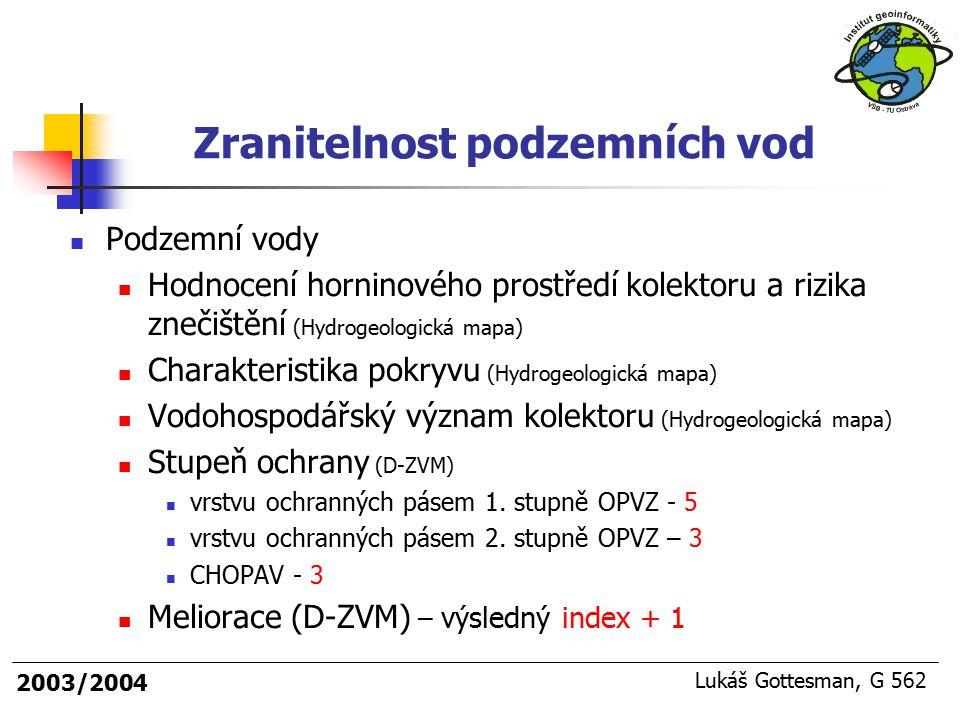 2003/2004 Lukáš Gottesman, G 562 Podzemní vody Hodnocení horninového prostředí kolektoru a rizika znečištění (Hydrogeologická mapa) Charakteristika po