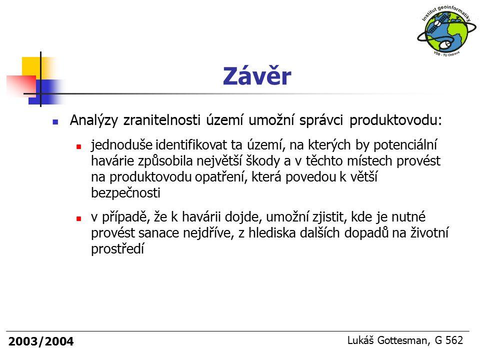 2003/2004 Lukáš Gottesman, G 562 Závěr Analýzy zranitelnosti území umožní správci produktovodu: jednoduše identifikovat ta území, na kterých by potenc
