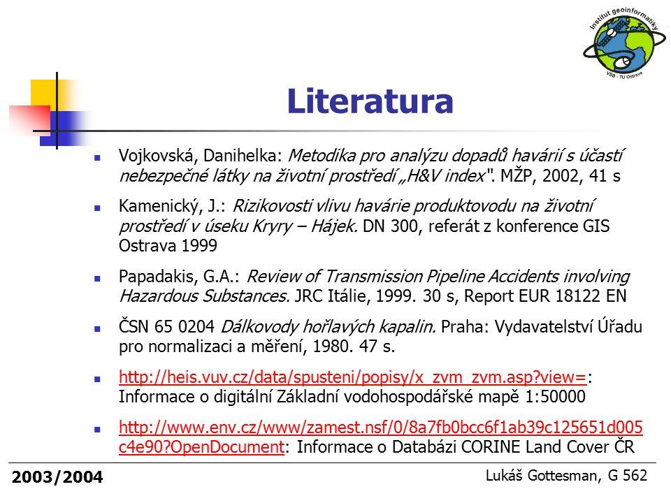 """2003/2004 Lukáš Gottesman, G 562 Literatura Vojkovská, Danihelka: Metodika pro analýzu dopadů havárií s účastí nebezpečné látky na životní prostředí """""""