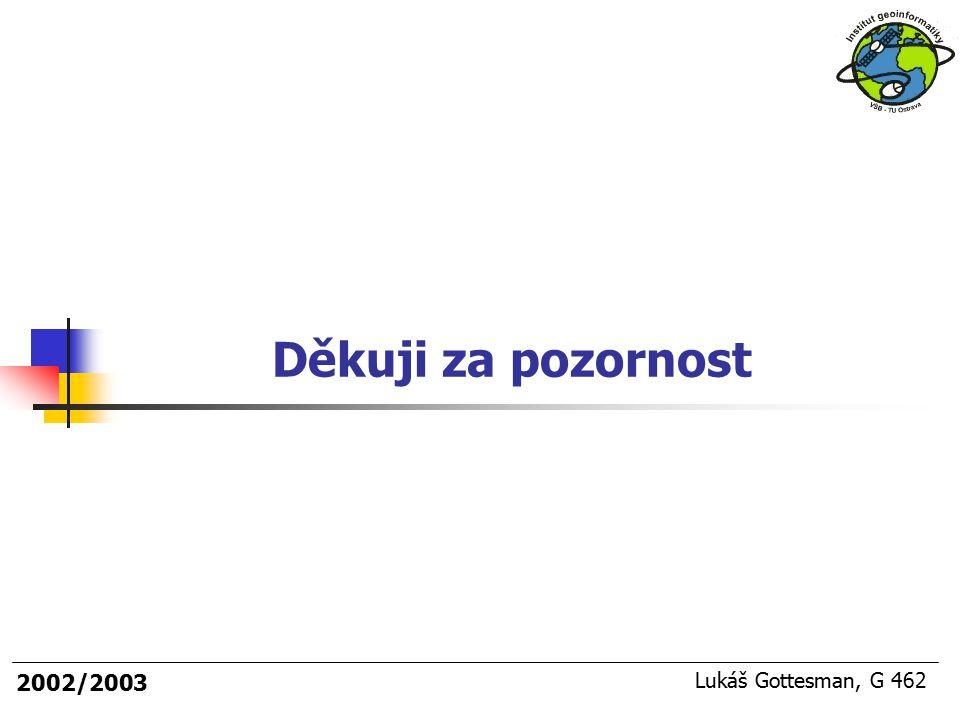 2003/2004 Děkuji za pozornost 2002/2003 Lukáš Gottesman, G 462