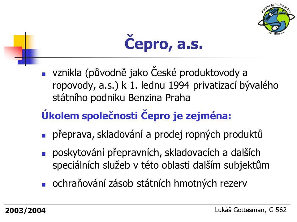 2003/2004 Lukáš Gottesman, G 562 Čepro, a.s. vznikla (původně jako České produktovody a ropovody, a.s.) k 1. lednu 1994 privatizací bývalého státního