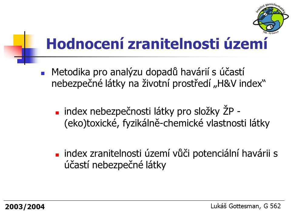 """2003/2004 Lukáš Gottesman, G 562 Hodnocení zranitelnosti území Metodika pro analýzu dopadů havárií s účastí nebezpečné látky na životní prostředí """"H&V"""