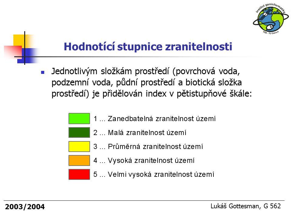 2003/2004 Lukáš Gottesman, G 562 Jednotlivým složkám prostředí (povrchová voda, podzemní voda, půdní prostředí a biotická složka prostředí) je přidělo