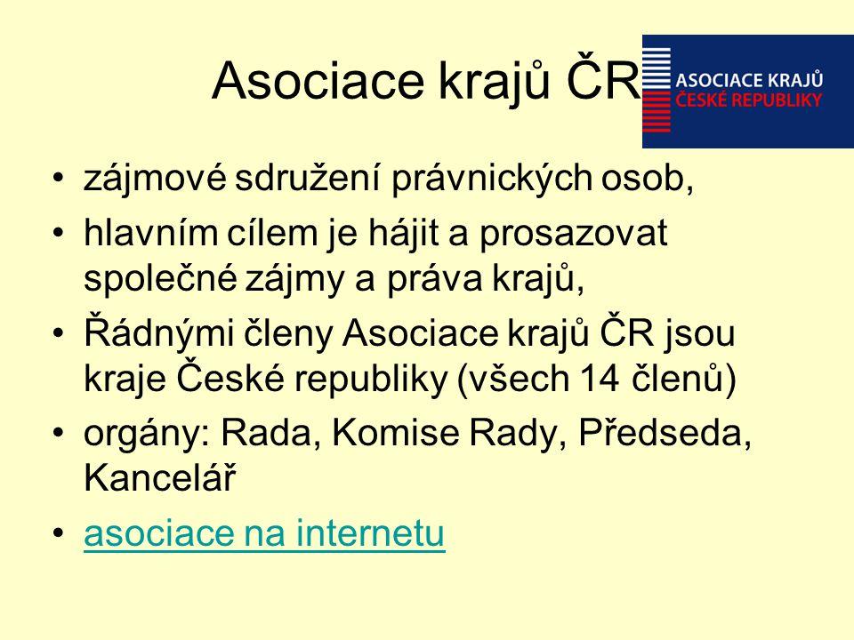 Asociace krajů ČR zájmové sdružení právnických osob, hlavním cílem je hájit a prosazovat společné zájmy a práva krajů, Řádnými členy Asociace krajů ČR
