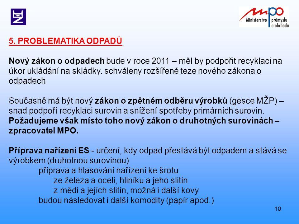 10 5. PROBLEMATIKA ODPADŮ Nový zákon o odpadech bude v roce 2011 – měl by podpořit recyklaci na úkor ukládání na skládky. schváleny rozšířené teze nov