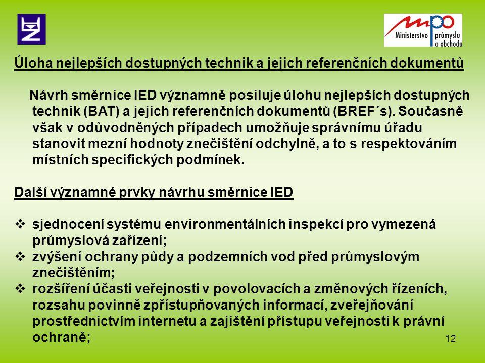 12 Úloha nejlepších dostupných technik a jejich referenčních dokumentů Návrh směrnice IED významně posiluje úlohu nejlepších dostupných technik (BAT)