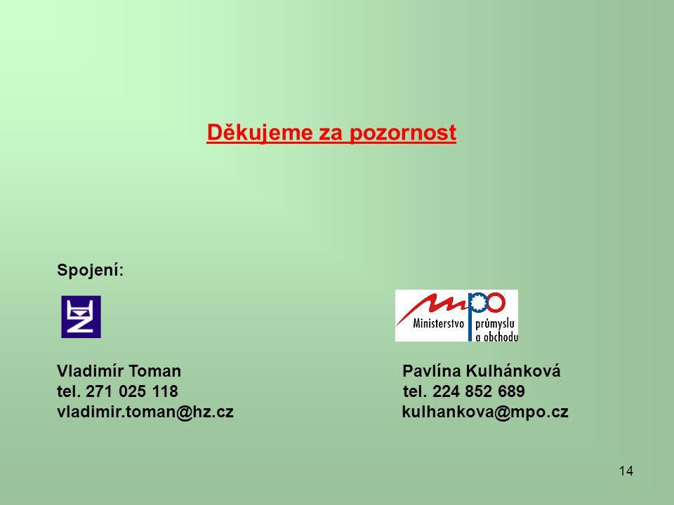 14 Děkujeme za pozornost Spojení: Vladimír Toman Pavlína Kulhánková tel. 271 025 118 tel. 224 852 689 vladimir.toman@hz.cz kulhankova@mpo.cz