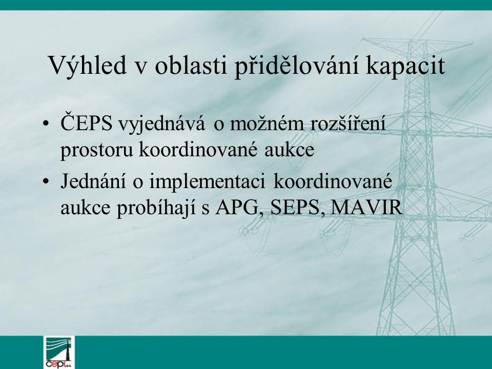 Výhled v oblasti přidělování kapacit ČEPS vyjednává o možném rozšíření prostoru koordinované aukce Jednání o implementaci koordinované aukce probíhají s APG, SEPS, MAVIR